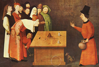 A mouse pad featuring The Conjurer, by Hieronymus Bosch, ca 1490